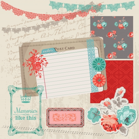 Scrapbook Design Elements - Vintage Roses and Birds Stock Vector - 17918987