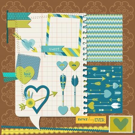 Scrapbook Design Elements - Love, Heart and Arrows - for design or scrapbook Vector