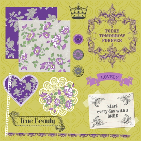 Scrapbook Design Elements - Vintage Violet Roses   Vector
