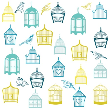 bird cage: Birds and Birdcages Background - for design or scrapbook  Illustration