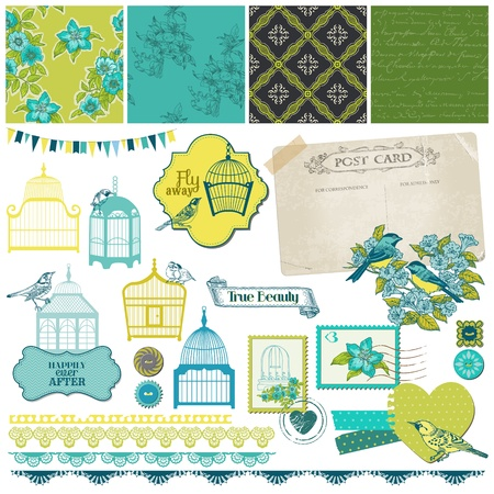 cage birds: Birds and Birdcages Collection - for design or scrapbook  Illustration