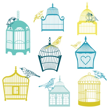 Birds and Birdcages Collection - for design or scrapbook  Vector