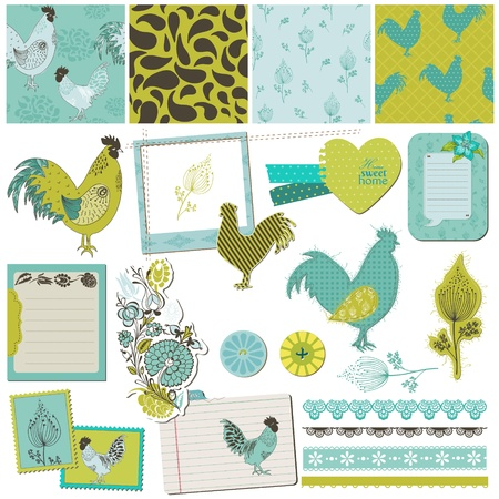 Scrapbook Design Elements - Vintage Rooster and Flowers  Vector