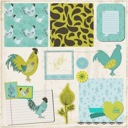 Scrapbook Design Elements - Vintage Rooster and Flowers Stock Vector - 17919120