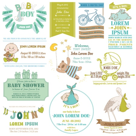 Baby Arrival and Shower Collection - for card design, scrapbook  Vector