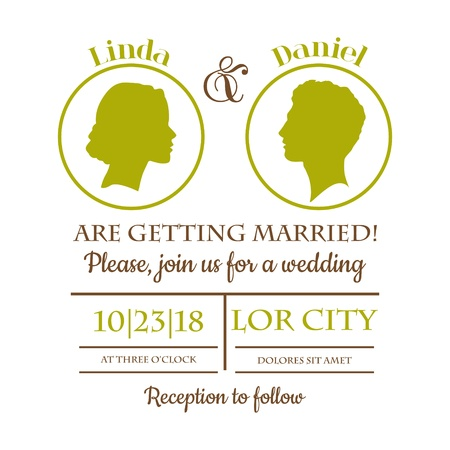silhouttes: Wedding Invitation Card - Bride and Groom Silhouttes Illustration