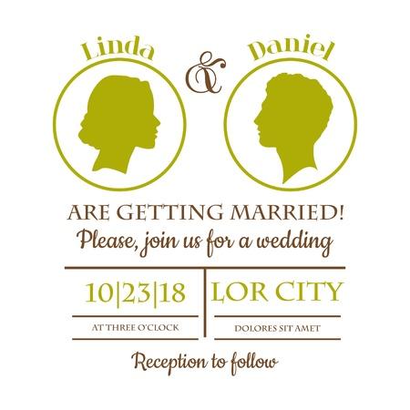 Einladungs-Karte Wedding - Braut und Bräutigam Silhouttes