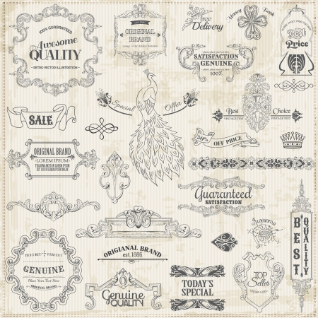 vintage style: Set: Calligraphic Design Elements and Page Decoration, Vintage Frame collection