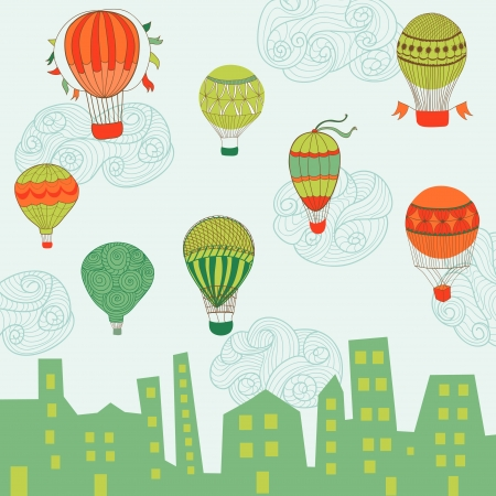 Cute Air Balloons Background - for design and scrapbook  Vector