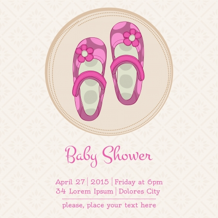 baby girl shower: Baby Shower or Arrival Card with Place for your text