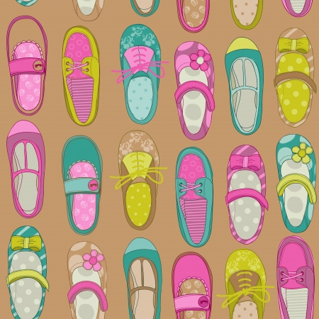 baby shoes: Baby Girl Shoes Background - for design or scrapbook