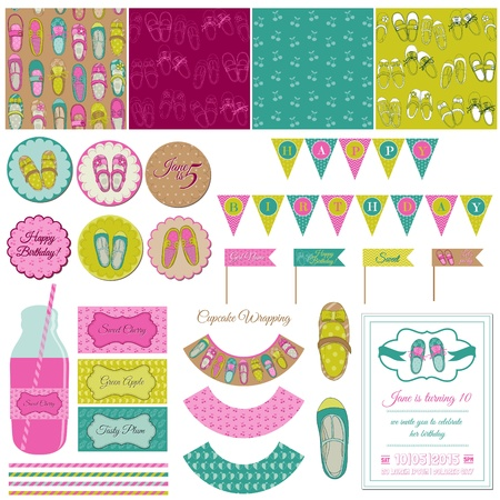 baby shoes: Baby Girl Shoes Party Set - for birthday, decoration, scrapbook Illustration