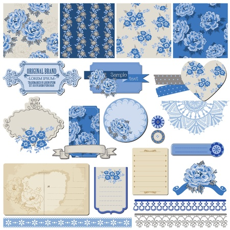 Scrapbook Design Elements - Vintage Blue Flowers Illustration