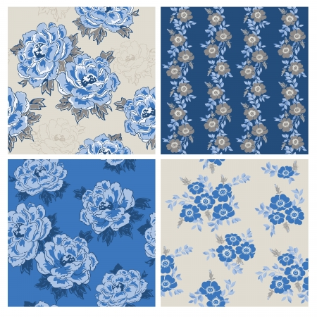 Seamless Floral Background Beautiful Set - for your design and scrapbook  Vector