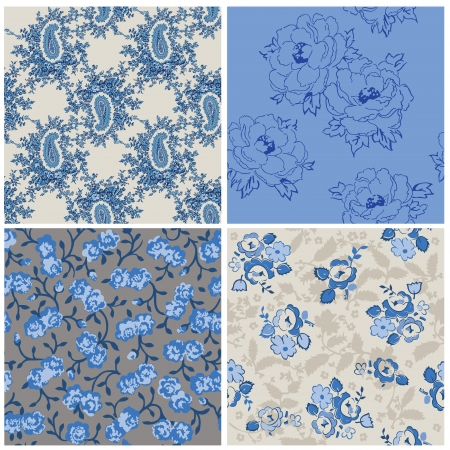blue rose: Seamless Floral Background Beautiful Set - for your design and scrapbook Illustration