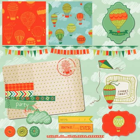 Scrapbook Design Elements - Cute Air Balloons and Clouds Vector