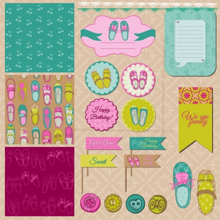 Scrapbook Design Elements - Baby Girl Shoes Vector