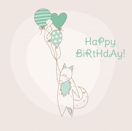 Birthday Invitation Card - with Baby Fox - in vector Vector