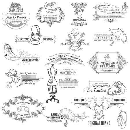 Elementos caligráficos del diseño y la recopilación de Marco Vintage con dama de la moda - en vector