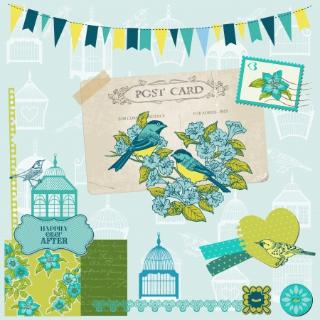 Birds and Birdcages Collection - for design or scrapbook - in vector Vector