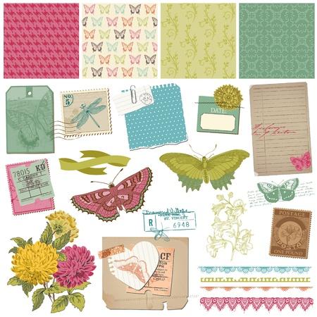 Scrapbook Design Elements - Vintage Butteflies and Flowers - in vector Vector