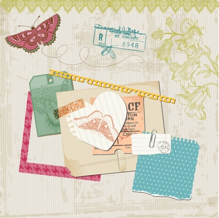 Scrapbook Design Elements - Vintage Butteflies and Flowers - in vector Vector