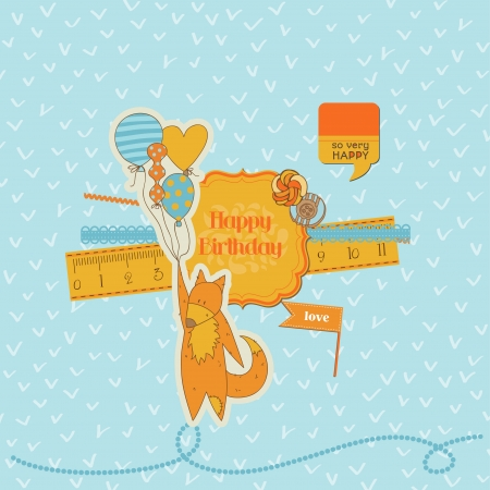 Scrapbook Design Elements -Baby Shower Set with Cute Foxes - in vector Vector