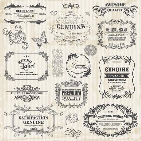 Vector Set: Calligraphic Design-Elemente und Seite Dekoration, Vintage Frame-Sammlung mit Blumen