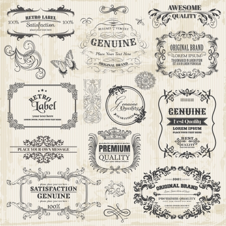 retro type: Vector Set: Calligraphic Design Elements and Page Decoration, Vintage Frame collection with Flowers