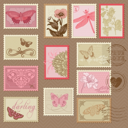 stationary set: Retro Postage Stamps - with butterflies and flowers - for wedding design, invitation, scrapbook
