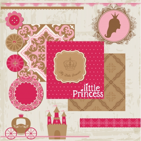 girl birthday: Scrapbook Design Elements - Princess Girl Birthday Set - in vector Illustration