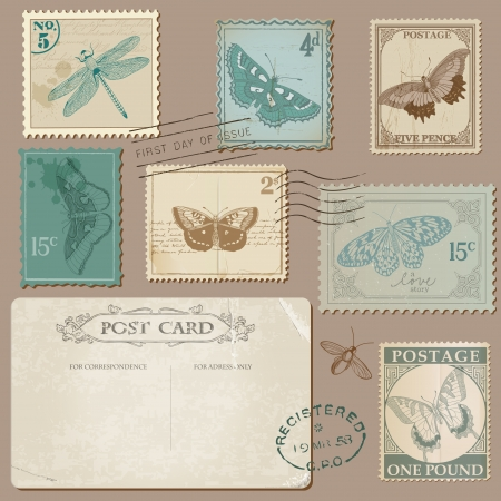 post cards: Vintage Postcard and Postage Stamps with Butterflies - for wedding design, invitation, scrapbook