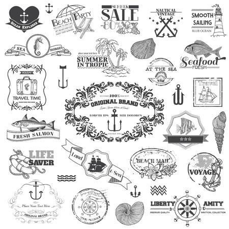 m�ve: Nautische Sea kalligraphische Elemente - f�r G�stebuch und Design Illustration