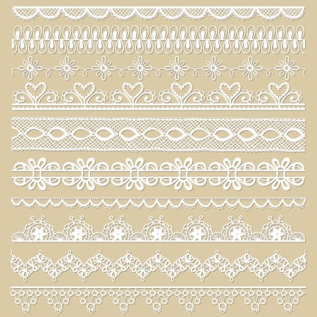 trims: Set of lace ribbons - for design and scrapbook - in vector Illustration