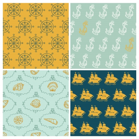 Set of Marine backgrounds - for your design, scrapbook - in vector Vector