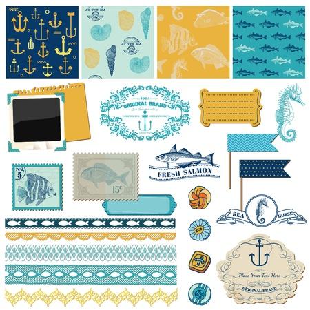 Elementos de dise�o del libro de recuerdos - Nautical tema del mar - para scrapbook y dise�o