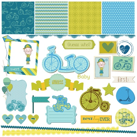 baby scrapbook: Scrapbook Design Elements - Baby Bicycle Set - for design or scrapbook - in vector