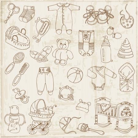 nacimiento bebe: Elementos de diseño del libro de recuerdos - Baby Set de llegada Vectores