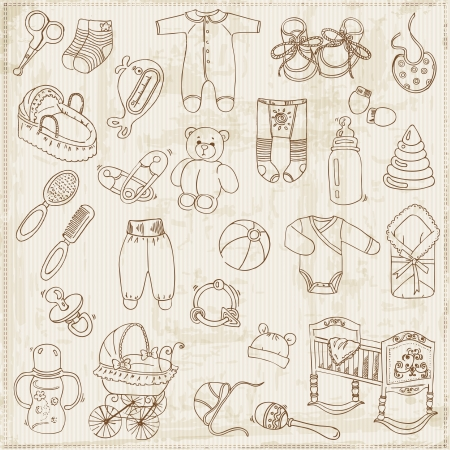 baby announcement card: Scrapbook Design Elements - Baby Arrival Set