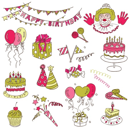 Scrapbook Design Elements - Birthday Party Set  Vector