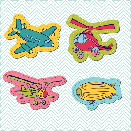 baby scrapbook: Set of Baby Boy Plane Stickers - for design and scrapbook  Illustration