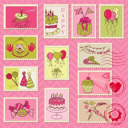 Birthday Postage Stamps - for scrapbook, invitation, congratulation  Illustration
