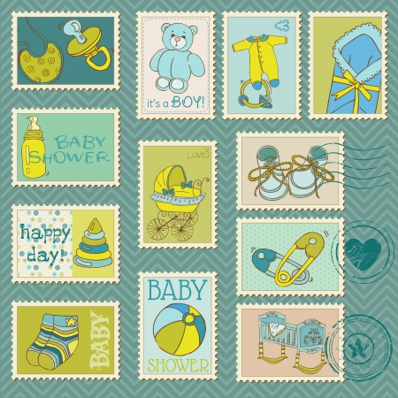 Baby Boy Postage Stamps - arrival, announcement, congratulation Stock Vector - 19268717