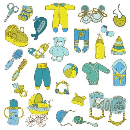 Elementos de diseño del libro de recuerdos - Baby Set de llegada - en vector Ilustración de vector