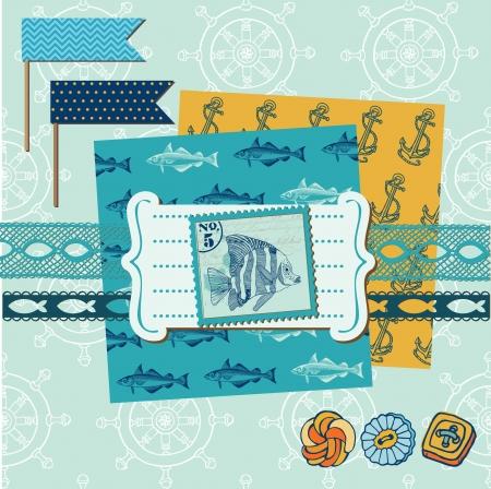 Éléments de conception Scrapbook - Thème de la mer nautique - pour scrapbook et de la conception