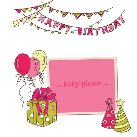 beauty birthday: Birthday Greeting Card with Photo Frame and place for your text