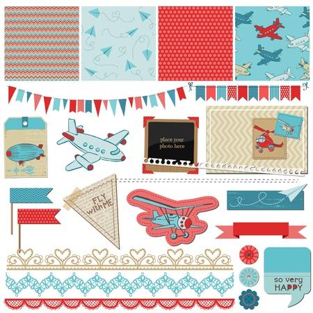 niño: Elementos de diseño del libro de recuerdos del bebé - Elementos del avión - en vector