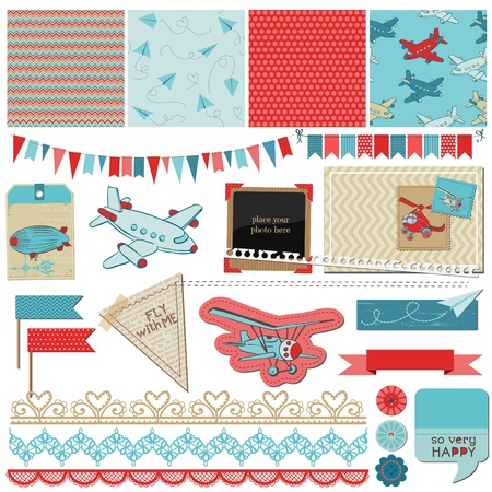 vintage airplane: Scrapbook Design Elements - Baby Boy Plane Elements - in vector