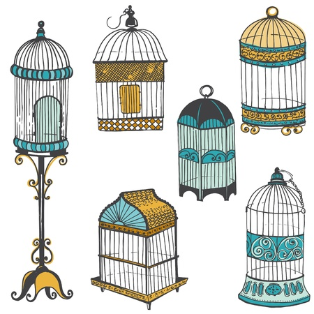 aves caricatura: Birdcages Collection - para el dise?o o bloc de notas Vectores