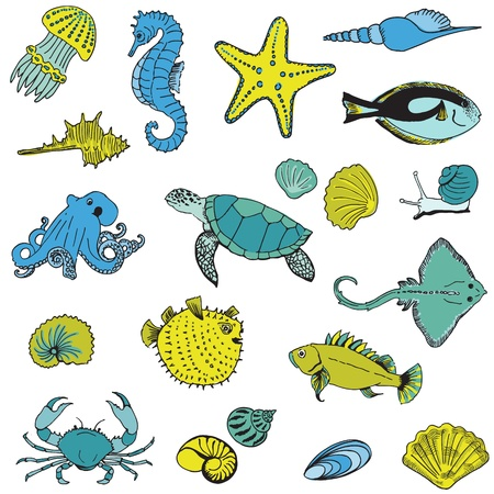 Sea life Animals - Hand drawn collection Vector